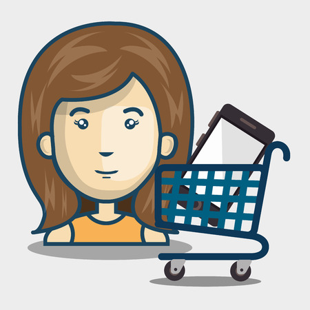 supermarket trolley: avatar woman and supermarket trolley and smartphone inside. shopping online theme. vector illustration