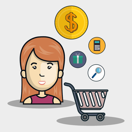 avatar woman smiling with supermarket trolley and money and shopping icon set. vector illustration Illustration