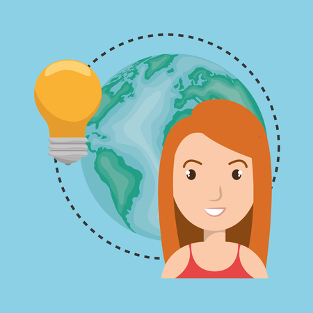 environment geography: avatar man smiling  with earth planet and bulb light icon. vector illustration Illustration