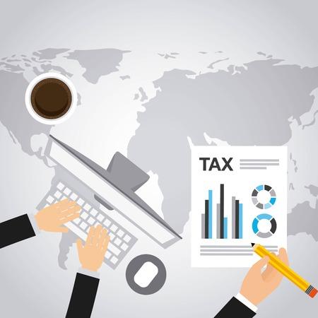 tax form: tax form flat icons vector illustration design