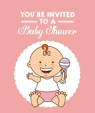invite congratulate: baby shower invitation card vector illustration design Illustration