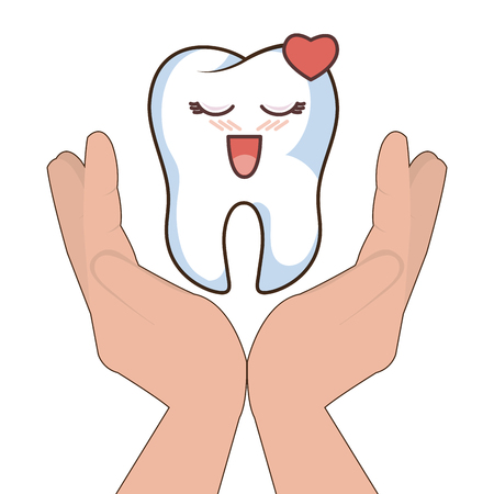 hands holding a human tooth with happy expression face cartoon. vector illustration Illustration