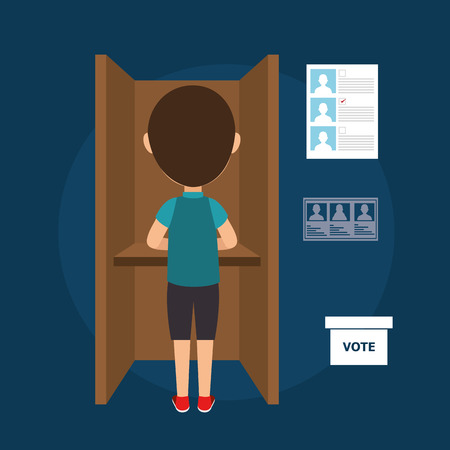 polling: avatar man voting political elections. vote icons. colorful design vector illustration
