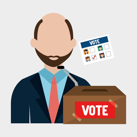 candidates: avatar man with  vote carton box and political candidates paper ballot. colorful design. vector illustration Illustration