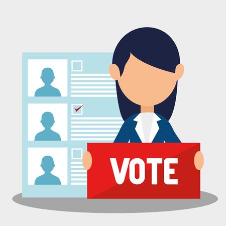 avatar femme avec signe de vote et candidats politiques bulletin de vote. design coloré. illustration vectorielle