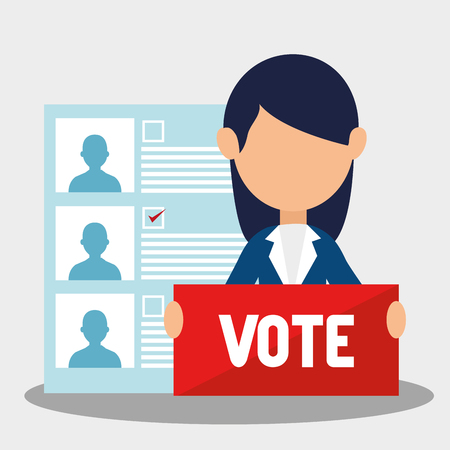 candidates: avatar woman with vote sign and political candidates paper ballot. colorful design. vector illustration