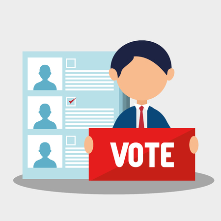 polling: avatar man with vote sign and political candidates paper ballot. colorful design. vector illustration
