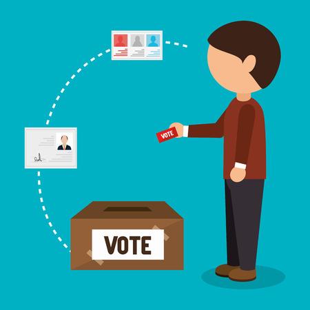 avatar homme déposer le bulletin de vote. élection campagne politique icône éléments. illustration vectorielle
