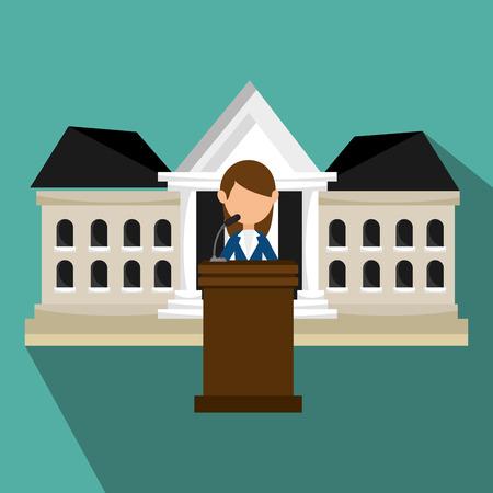voter: avatar woman political candidate on podium cartoon. vector illustration