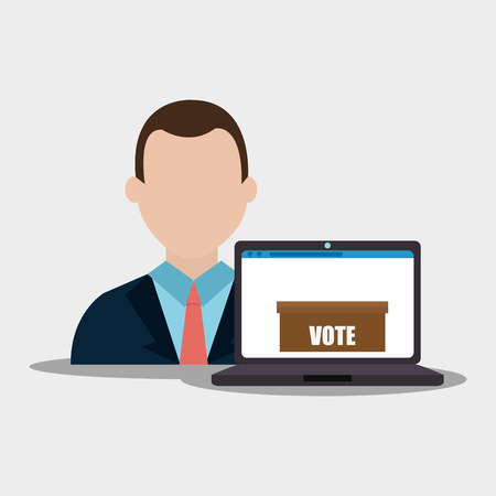 vote box: avatar man wearing suit and tie and laptop computer digital vote box. colorful design. vector illustration