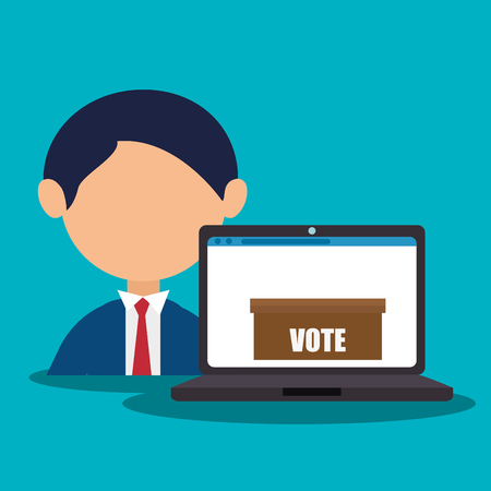 avatar man wearing suit and tie and laptop computer digital vote box. colorful design. vector illustration