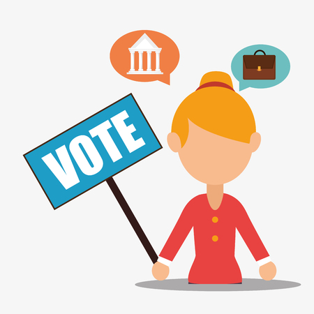 minister: avatar woman with vote placard and political elections icons. vector illustration Illustration