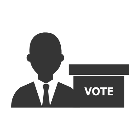 minister: avatar man wearing suit and tie and voting carton box  silhouette icon. vector illustration Illustration