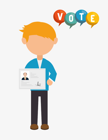 avatar man with political candidates paper ballot and colorful speech bubble. vector illustration Illustration