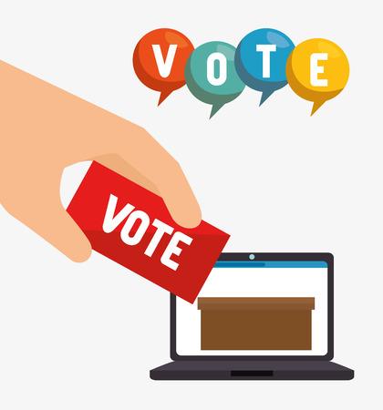 depositing: laptop computer with digital carton box and hand depositing a voting ballot. vector illustration