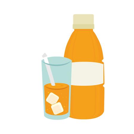 market gardening: orange bottle juice drink. healthy fruit food. vector illustration Illustration