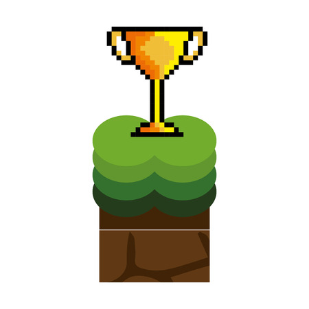 screenshot: Texture for platformers pixel art raster. ground mud block with grass on top pattern video game and gold trophy winner design. vector illustration Illustration