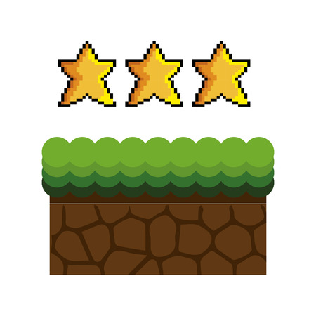 Texture for platformers pixel art raster. ground mud block with grass on top pattern video game and gold stars design. vector illustration