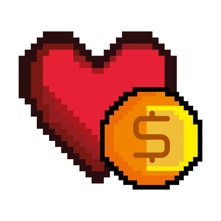 red heart and yellow gold coin shape video game pixel figure icon. vector illustration