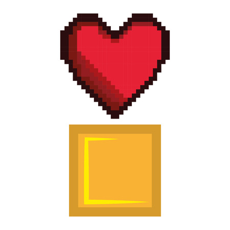 arcade games: red heart and yellow block video game pixel figure icon. vector illustration Illustration