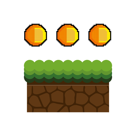 screenshot: Texture for platformers pixel art raster. ground mud block with grass on top pattern video game and gold coin design. vector illustration