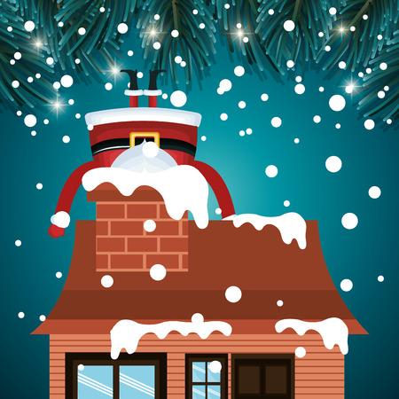Weihnachtsmann stecken Grafik Vektor-Illustration snwofall Kamin Haus Vektorgrafik