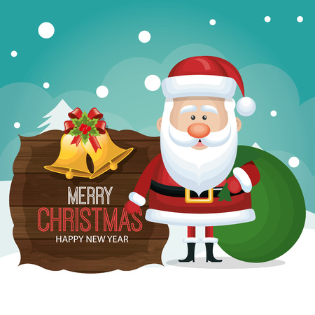 winterly: santa claus card wooden bag gift graphic vector illustration