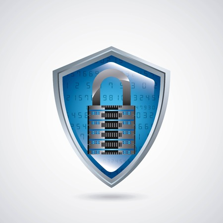 encrypt: shield with padlock security icon vector illustration design