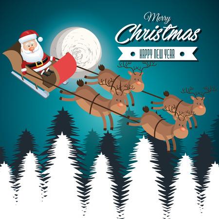 illustraion: card merry christmas santa flying reindeer landscape white vector illustraion
