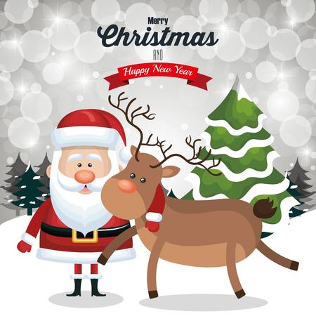 illustraion: christmas card santa and deer cute tree snow and landscape design vector illustraion