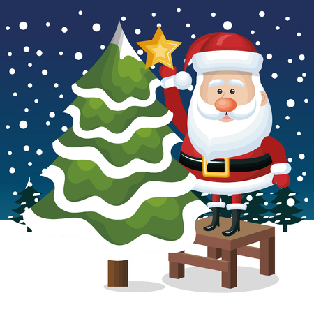 snowfall: card santa claus tree star snowfall graphic vector illustration