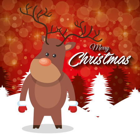 backgraound: merry christmas card reindeer stand with red backgraound vector illustration