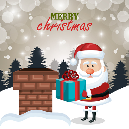 postcard xmas santa claus gift chimney. .landscape vector illustration