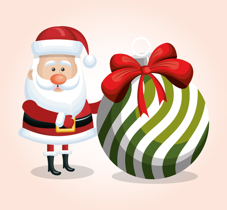 big ball: santa claus card with big ball white and green ribbon design isolated vector illustration Illustration