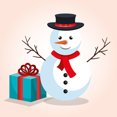 new year s santa claus: snowman and gift blue bow design isolated vector illustration