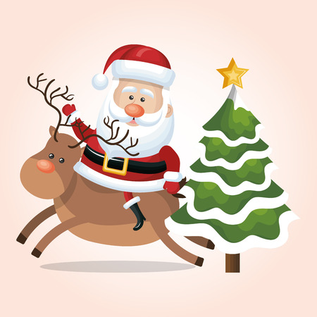 nightime: card santa claus riding reindeer and tree star snow design vector illustration