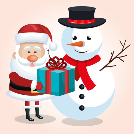 happy snowman and snta claus with blue gift ribbon isolated vector illustration Illustration