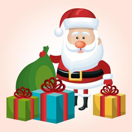snow cardinal: card merry christmas santa claus set gift and bag flat isolated vector illustration