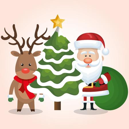 chrsitmas card santa deer and tree with bag gift design vector illustration