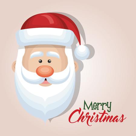 cute cartoon face santa claus merry christmas card design vector illustration