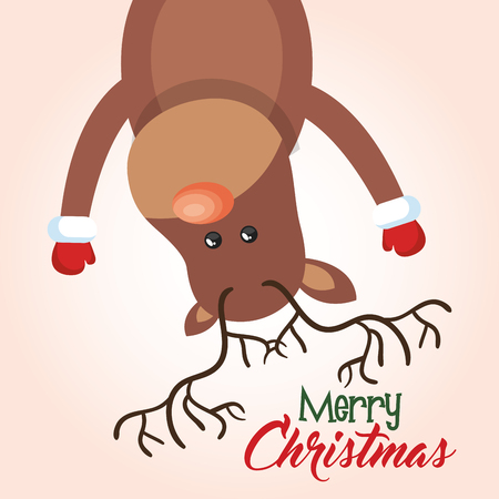 holly day: card christmas reindeer hanging greeting design vector illustration
