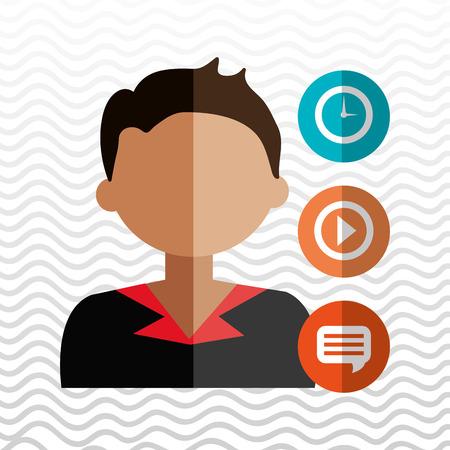 basic letters: avatar clock play chat vector illustration eps 10