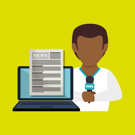 man news laptop report vector illustration