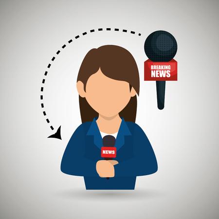 woman journalist news microphone vector illustration