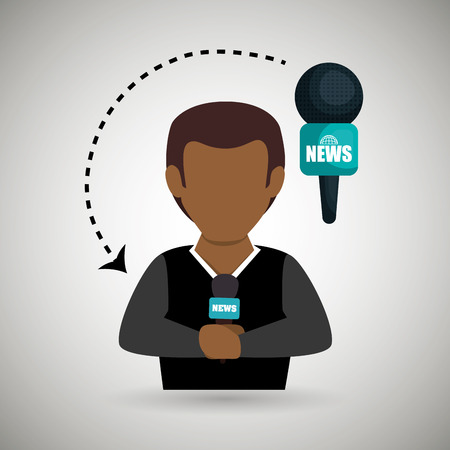 versatile: man journalist news microphone vector illustration Illustration