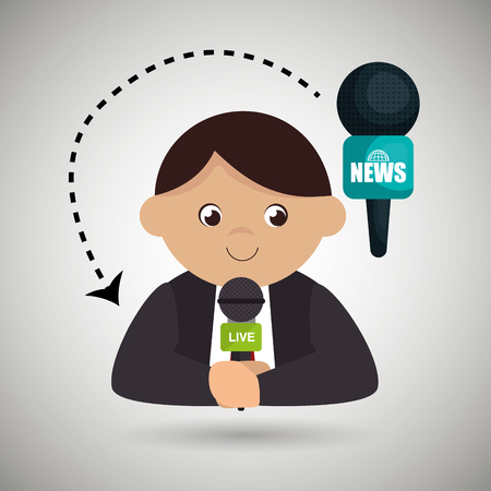 man journalist news microphone vector illustration Illustration