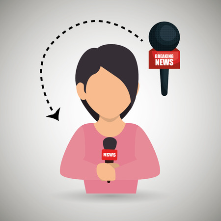 woman journalist news microphone vector illustration