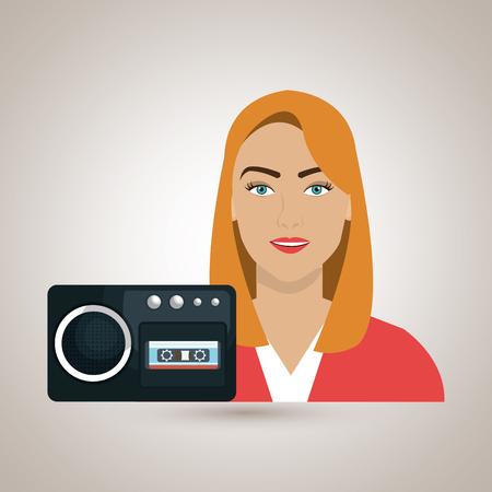 voice recorder: woman voice recorder news vector illustration Illustration