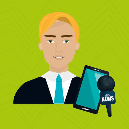 reportage: man news smartphone reportage vector illustration