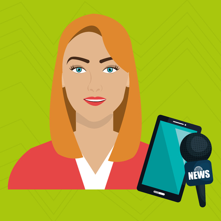 voices: woman news smartphone reportage vector illustration Illustration